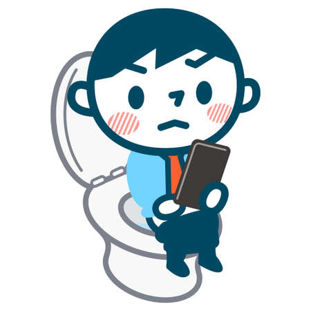 defecation: Man to see the mobile phone in the toilet