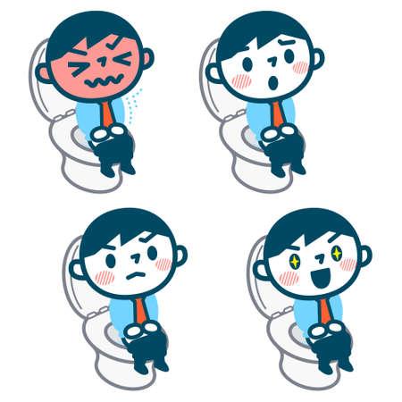 Set of man's toilet scene Vectores