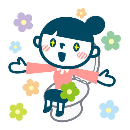 Smile of the woman in a good bowel movement  イラスト・ベクター素材