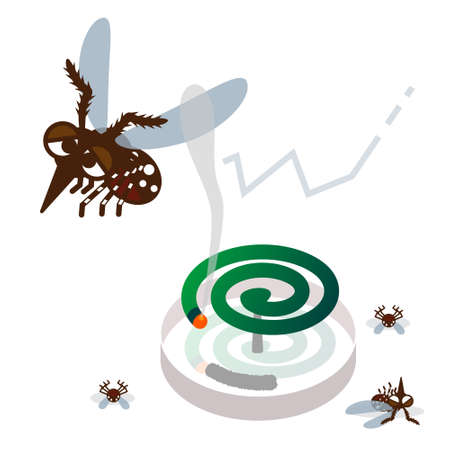 coil: Mosquito repellent coil and mosquito Illustration