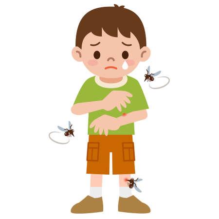 Chłopiec został pchnięty nożem w komara Ilustracje wektorowe