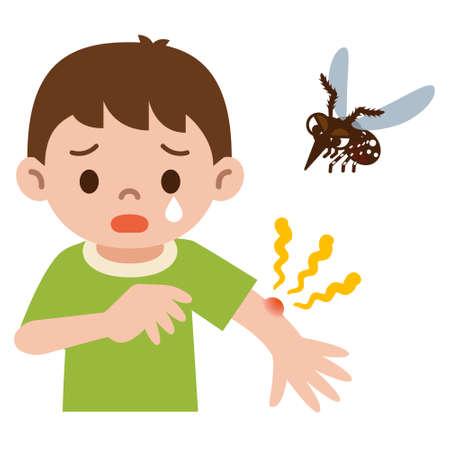 Junge wurde in der Mücke gestochen