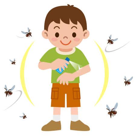 Chłopiec rozpylać środek odstraszający owady Ilustracje wektorowe