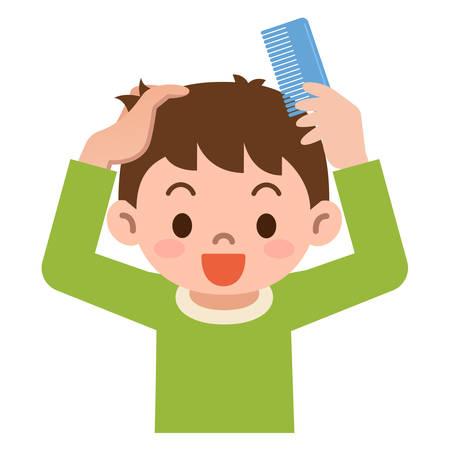 peine: Boy peinar el cabello con un peine