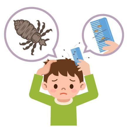 piojos: Boy peinar el cabello con un peine para piojos