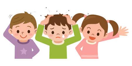 cartoon school girl: Lice and children