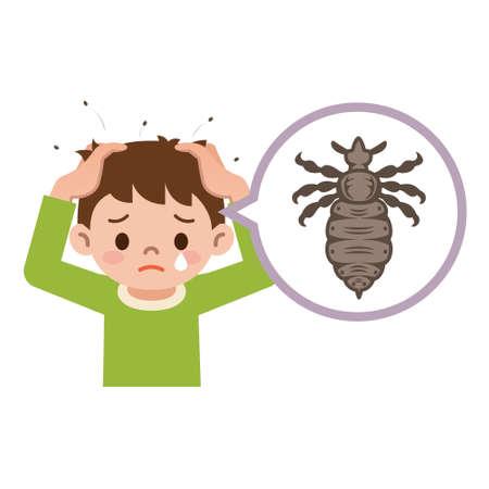 piojos: Chico con piojos. Ilustración de un niño con piojos en la cabeza.