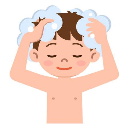 hair wash: Boy to wash the hair with shampoo Illustration