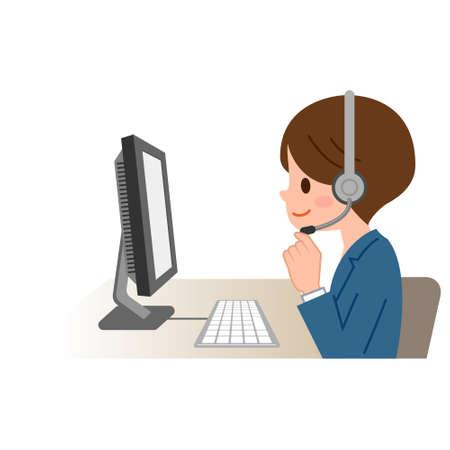Friendly Service Agent Talking To Customer 矢量图像