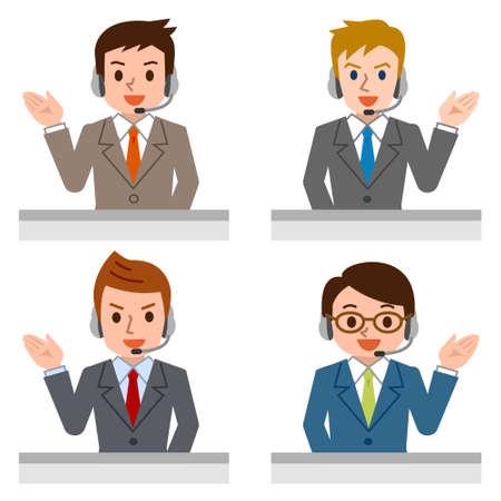 Friendly Service Agent Talking To Customer Vettoriali