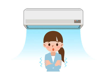 Cold want women to air conditioning of the wind Stock Illustratie
