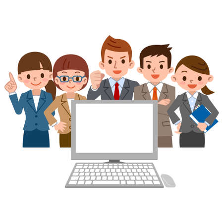 office worker gathers and looks at the PC Illustration