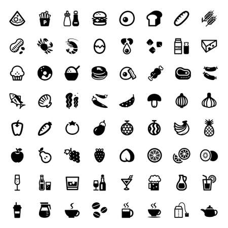food allergy: Set of food and drink icons Illustration