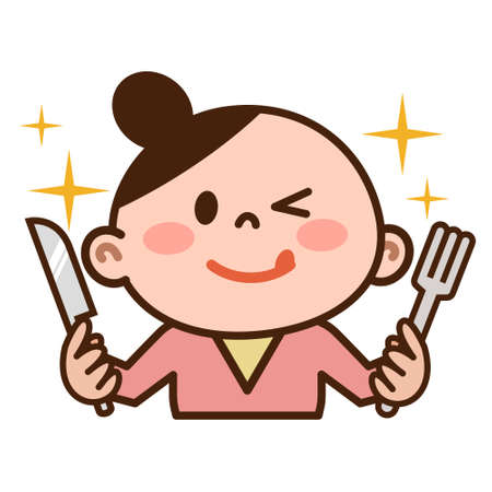 Young woman with a fork and knife Illustration
