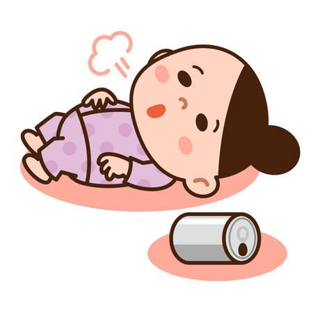 ドリンクを飲みながら寝る女性  イラスト・ベクター素材