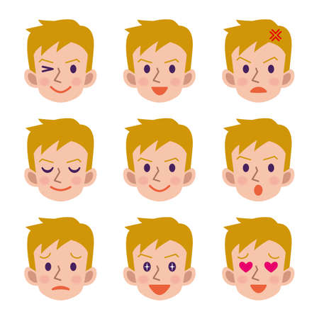 facial: Facial expression of male Illustration