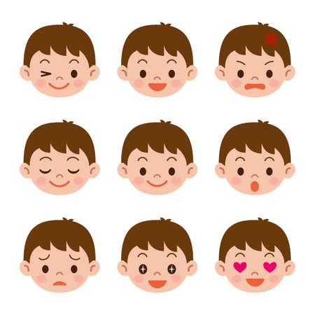 facial: Facial expressions of boy Illustration