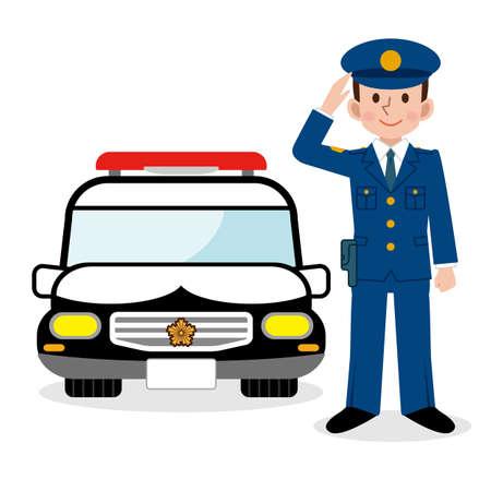 Polizeibeamte und Polizeiauto