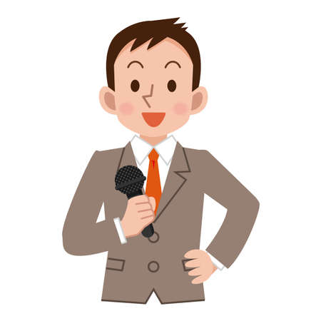 Businessman with a microphone Illustration