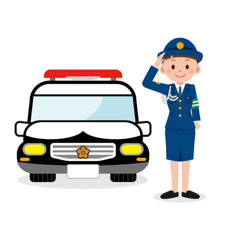 femme policier: Policewoman and a police car Illustration