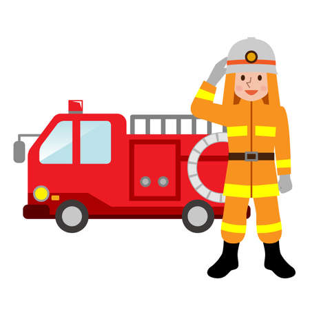 Fire truck and firefighters