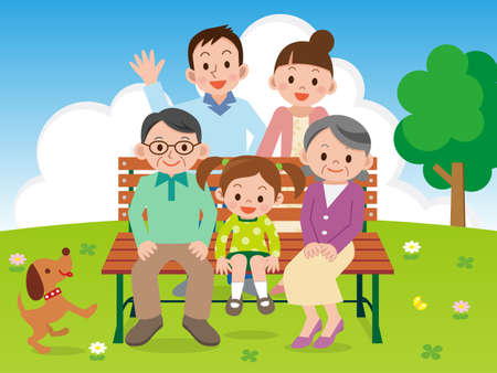 Happy family sitting on a park bench