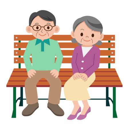 retired: Happy senior couple Illustration