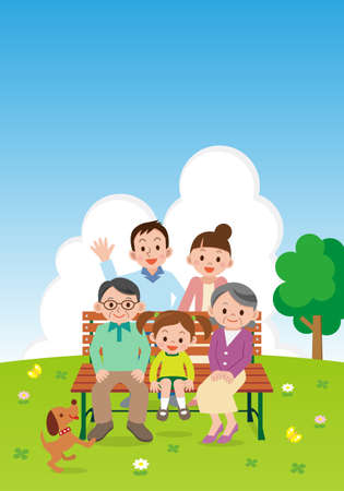 Happy family sitting on a park bench Banco de Imagens - 63208494