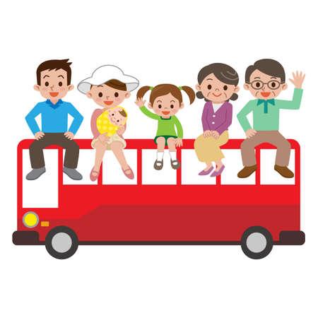 幸せな家族と観光バス 写真素材 - 63208507