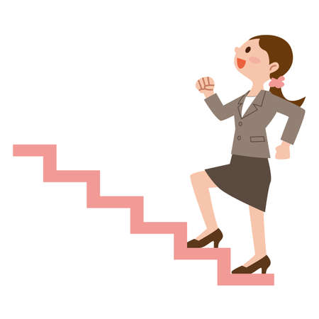 Business woman to climb the stairs 向量圖像