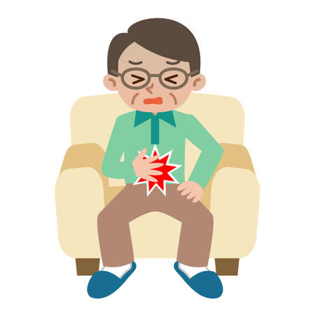 腹部の痛みから苦しんでいる年配の男性  イラスト・ベクター素材