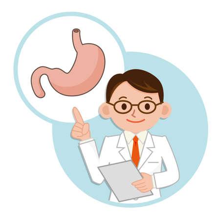 medico caricatura: Médico para una descripción del estómago