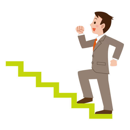 career up: Businessman climbing the stairs Illustration