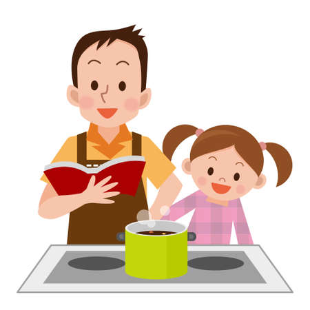 Man and daughter to cook