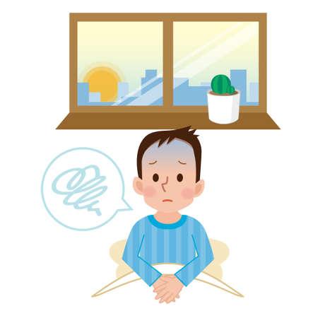 sentarse: Estado de ánimo depresivo de la mañana Vectores