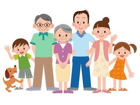 Three generation family  イラスト・ベクター素材