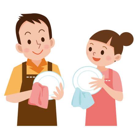 お皿を拭くためのカップル  イラスト・ベクター素材