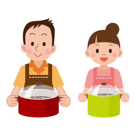 Couple with a pot Illustration