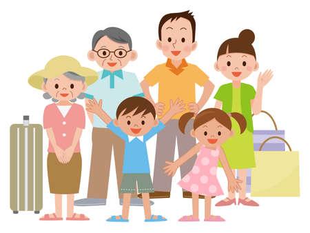 家族旅行のイラスト  イラスト・ベクター素材