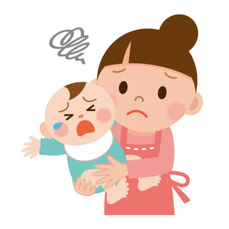 Mother trying to calm her crying baby