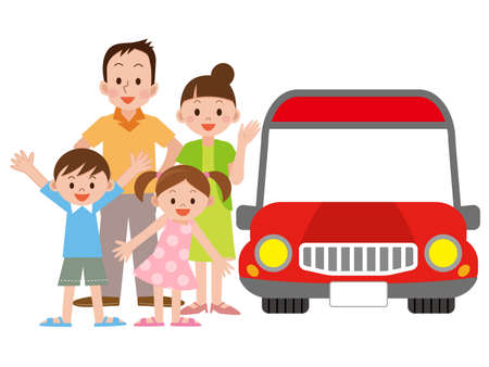 Illustration of Family and car