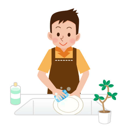 Men who wash the dishes Stock Illustratie