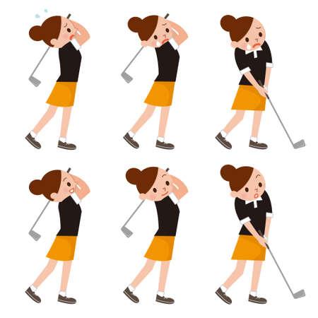 ゴルフをプレイする女性  イラスト・ベクター素材