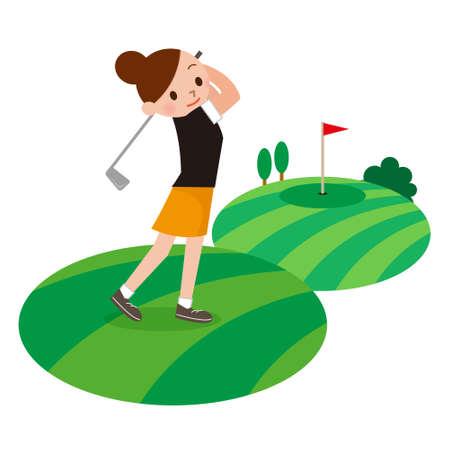 女の子ゴルフ プレーヤー 写真素材 - 63208998