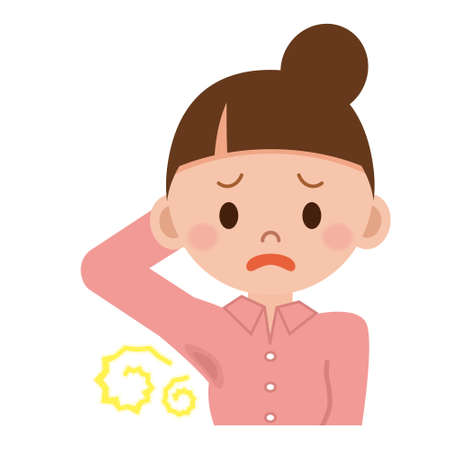 Women worry about body odor Illustration