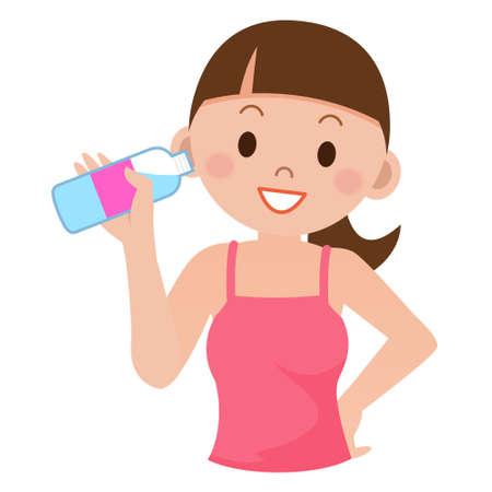 若い女性は、水を飲む
