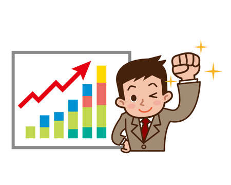 Graph to rise with businessmen