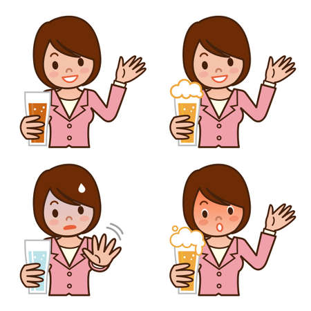 Set of expression young woman is drinking beer