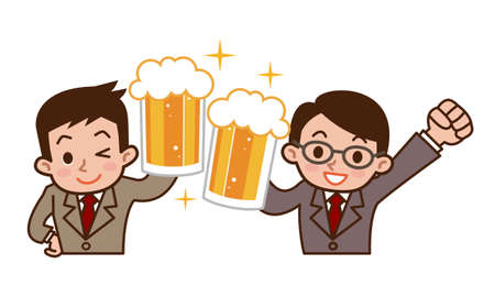 partying: Business man to toast with beer