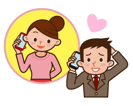phone and call: Illustration of Love couple